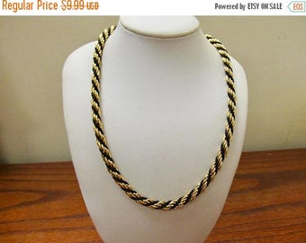 ON SALE TRIFARI Chunky Black and Gold Twisted Chain Necklace Item K # 612