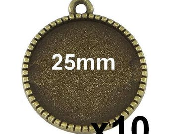 10 blank cabochon pendant bronze medal for 25mm mod640
