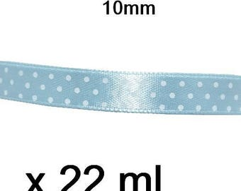 1 roll of blue polka dot satin ribbon 10mm by 22 m white
