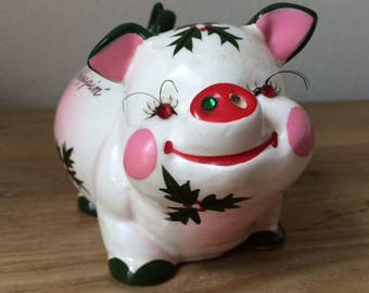 1950s Kreiss Christmas Piggy Bank with Rhinestones and Long Eyelashes, Coins Droppin' for Christmas Shoppin, Made in Japan