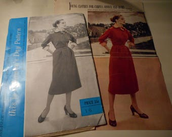 Vintage 1950's Woman's Day 5042 Dress Sewing Pattern Size 16  Bust 34