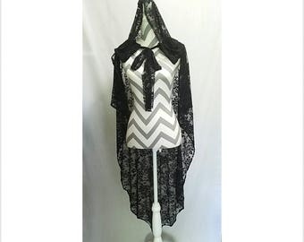 Black Lace Oversized Synched Hood Cape Cloak