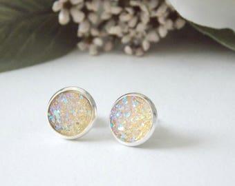 Soft Yellow  Druzy Stud Earrings. Faux Druzy, Stud Earrings, Organic Jewelry