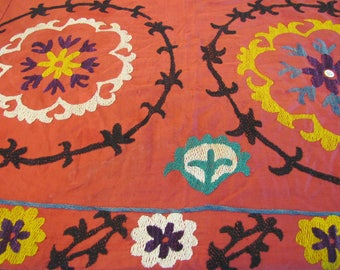 1960's Kazakhstan Handsewn Suzani, Colorful, Red, Kazakhstan, Central Asia, Wall Hanging, Tribal Textile, Folk Art, Ethnic, 1960's