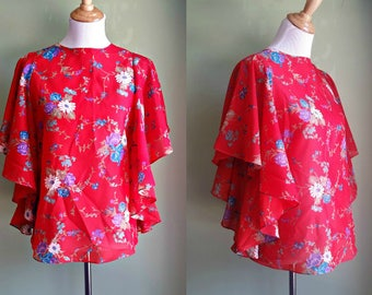 1970s Flutter Sleeve Boho Blouse - Med/Large