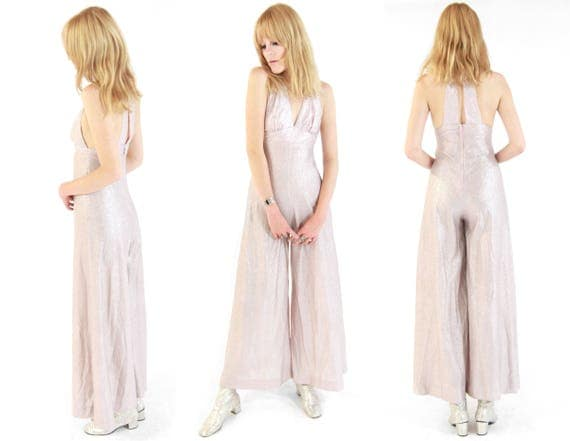 Vtg 70s Young Edwardian Rose Gold Lame Lurex Jumpsuit S