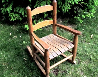 Child Size Rocking Chair   Vintage Photo Shoot Prop   Wooden Childrens  Rocker Furniture   Country