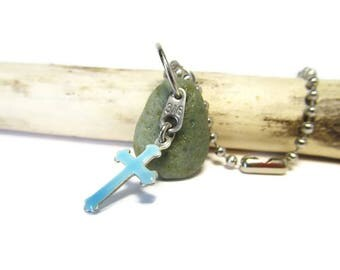 Blue Slag Glass Stone Key Chain, Blue Cross Charm, 316 Stamped Metal Tag, Cross and Bluestone Lake Michigan Stone Key Chain, Keychain