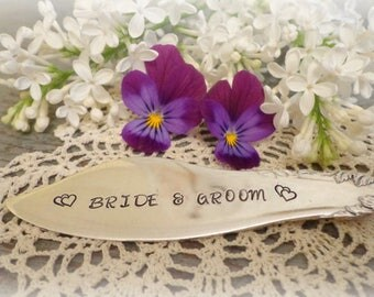 wedding knife bride and groom stamped wedding cake knife wedding gift  butter knife stamped silverware vintage silverware turned knife