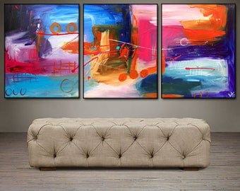 """Abstract View II- 48"""" X 20"""" Original Paintings . Free shipping within USA"""