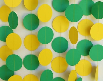 Green & Yellow Birthday Garland, Boy's Birthday Party, Paper Circle Garland, Tractor Birthday, 10 ft. long