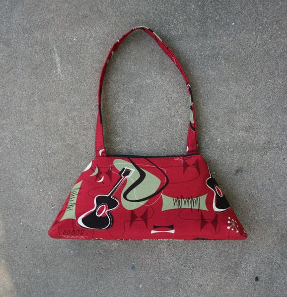 SALE! reproduction barkcloth, guitar, brick red, mid century modern, vintage inspired, retro style, tote