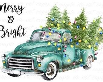 Merry & Bright Blue Vintage Truck Christmas Tree Heat Press Transfer DIY Iron on Transfer