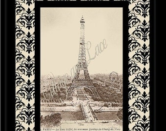 SALE Printable Wall Print, Digital Print, Wall Decor, Digital Art Eiffel Tower  8 x 10 Picture  No 2028