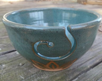 Yarn Bowl, Blue Pottery Yarn Ball Bowl, Handmade Pottery