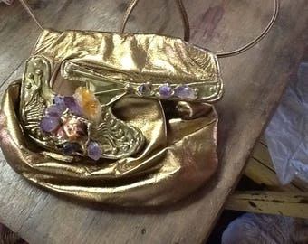 Vintage 1970-80's Gold Leather Purse with Large Stones