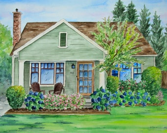 Home Portrait in Watercolor, Custom Home Portrait, Custom Portrait, Home Portrait, House Portrait, Home Painting