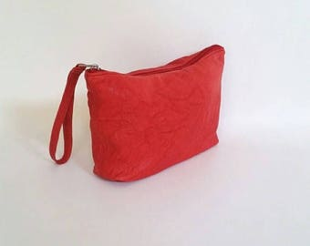 ON SALE Boho Chic Red Leather Bag with Wrist Strap, Weekend Wristlet Bag, Fashion Pouch, Cosmetic Purse, Cosmos