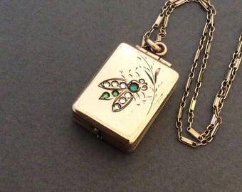 Antique Victorian Fly Locket Necklace