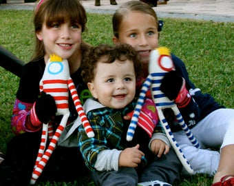 Customized Colors : Oscar the King Soft Handmade Plush - Striped Painted Art Doll for Children's toy and Decoration