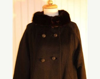 60% OFF Clearance Sale Vintage 60's Black Wool Princess Swing Coat Fur Collar Jacki O Mad Men SZ M/L