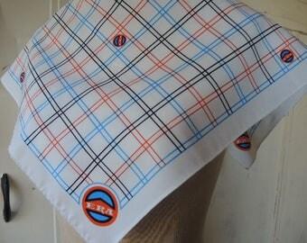 Vintage 1980s polyester Era scarf geometric  plaid  24 x 24 inches