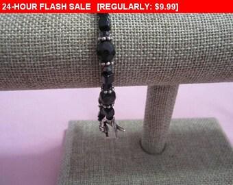 Pretty Black bead bracelet,vintage bracelet, hippie, boho
