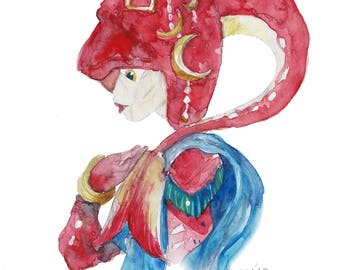 Mipha- Print and Sticker of my Watercolor Gift Art Print  Zelda Nintendo BOTW Game Videogame Prince Siddon Mipha's grace