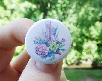 Plant Buttons 1 inch badge Garden Gardening Grandmother Gift for her Plants Flowers Succulent Greenhouse Green Crystals