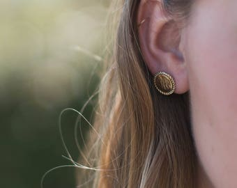 Monogrammed Nautical Rope Earrings Gold Plated Over Sterling Silver or Sterling Silver, Personalize Bridesmaid Stud Earrings with Monogram,