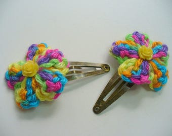 Yellow Rose and Mulit Color Crochet Hair Clips, Antique Brass Clip, Hair Accessory, Bridal Hair Clip, Hair Care, Flower Girl
