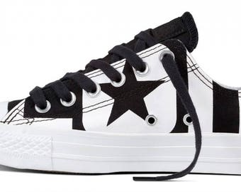 Converse White Low Top Chuck Taylor Custom Word Play Logo Canvas GlassSlippers w/ Swarovski Crystal Rhinestone Jewel All Star Sneakers Shoes