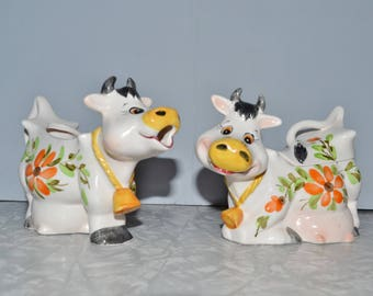 Vintage Cow Creamer & Sugar Set of 2 ~ Japan Cows