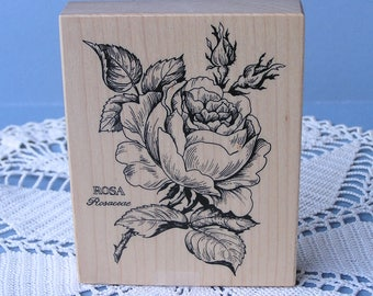 Vintage Flower Rubber Stamp . Rosa Rosaceae PSX K-023 . Rose Stamp . Wood Mounted Stamp . Used . Made in USA