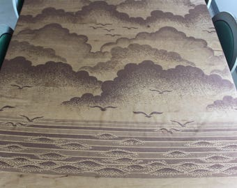 Vintage Aquetta 1970s shower curtain bown beach scene,ocean,seagulls,clouds beach pattern lace, perfect for your beachy ocean themed getaway