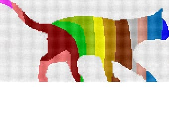 Needlepoint Kit or Canvas: Cat Palette Silhouette