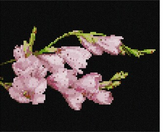 Needlepoint Kit or Canvas: Pink Flower Buds