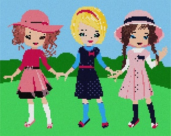 Needlepoint Kit or Canvas: Three Friends Park