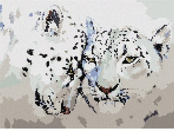 Needlepoint Kit or Canvas: Leopards Painting