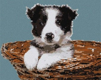 Needlepoint Kit or Canvas: Collie In Basket