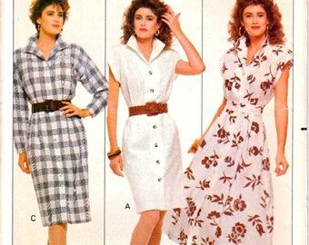 Butterick 6083 Misses Straight Shirtwaist Dress, Flared Shirtwaist Dress Sewing Pattern Size 6-8-10 Vintage 1980's UNCUT