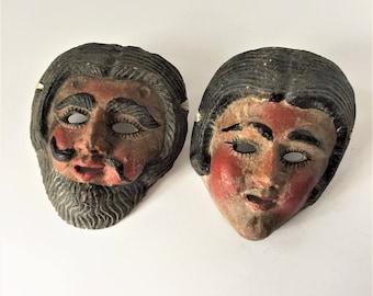 Antique Plaster Masks, Guatemalan Dance Masks, Decorative Central American Masks, Moors and Christians Dance, El Patron La Patrona Masks
