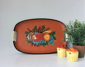 1960s Tray, Vintage Serving Tray, Hand Painted Pressboard Fiberboard, Tilso Japan Home Decor, Large Oval Tray, Red and Black, Retro Kitchen