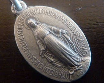 Antique French Religious  medal Our Lady of Rue du bac   Miraculous medal Old Pendant Charm Vintage Jewelry