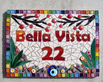 Mosaic House Name, Street Address,House Sign, Name Plaque,Yard Sign, Outdoor Sign, Kerb Appeal, Bespoke, Custom,Nameplate,Door, Rainbow