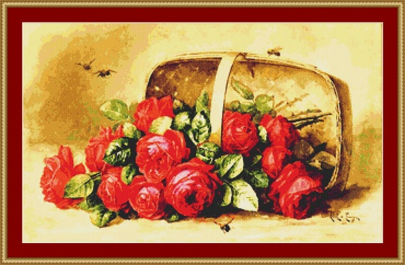 Basket Of Beauties Roses Cross Stitch Pattern - Instant Downloadable / PDF Files