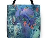 Valentine's Day Gift Idea Purple Iris Lace Watercolor Tote Purse Bag