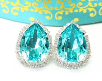 Stud Earrings Turquoise Earrings Blue Earrings Bridal Bridesmaid Earrings Wedding Jewelry Swarovski Earrings Wives Gift Romantic TQ31S