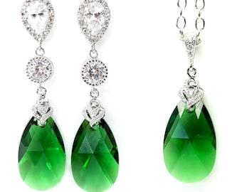 Emerald Earrings and Necklace Set Jewelry Set Swarovski Jewelry Emerald Jewelry Bridesmaid Gift Dark Green Drop Earrings Forest Green DM32JS