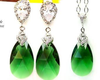 Green Earrings & Necklace Set Emerald Green Jewelry Bridesmaid Gift Swarovski Jewelry Dark Green Earrings Emerald Holiday Jewelry DM32JS
